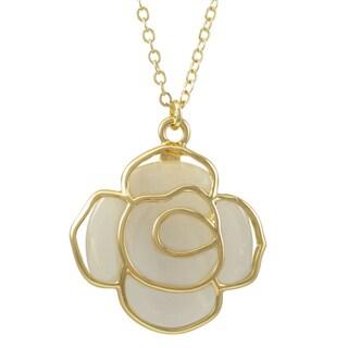 Gold Finish Faux Cat Eye Rose Flower Pendant Necklace