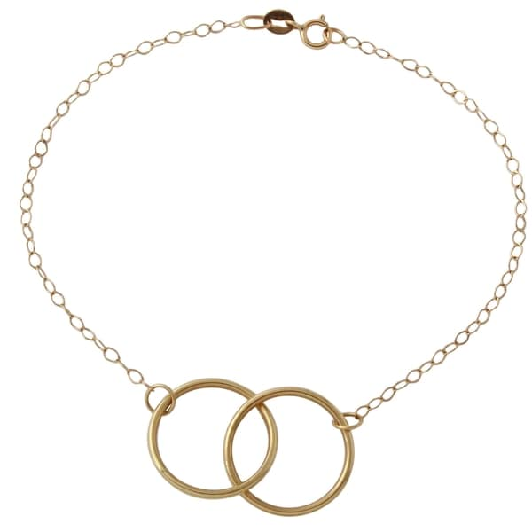 14k Yellow Gold Rolo Double Circle Bracelet