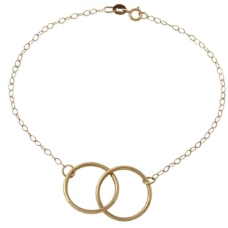 14k Yellow Gold Rolo Double Circle Bracelet