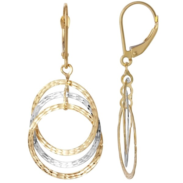 Gold 14k Triple Circle Dangle Earrings