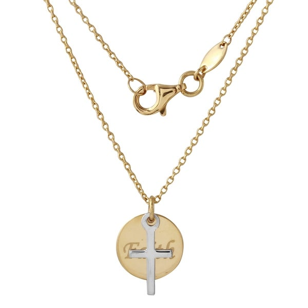 14-karat Yellow and White Gold Faith Cross Round Disc Pendant Necklace