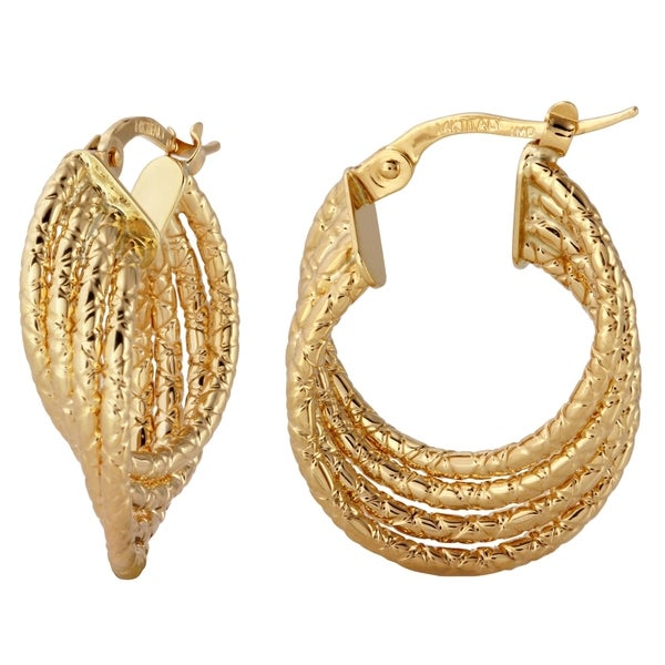 14k Italian Yellow Gold Diamond Cut Stack Hoop Earrings 19115481