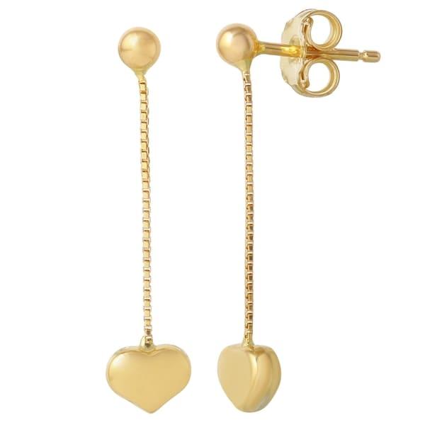 14k Yellow Gold Italian Heart Dangle Earrings 19115485