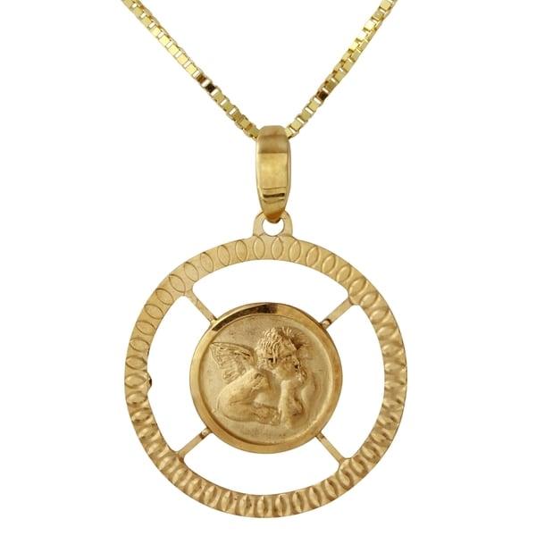 14k Yellow Gold D-cut Angel Pendant Necklace