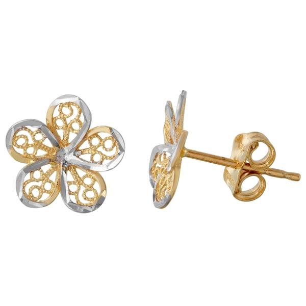 Two-tone 14-karat Gold Flower Earrings