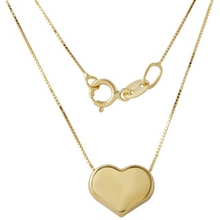 14k Italian Yellow Gold Box Heart Chain Necklace