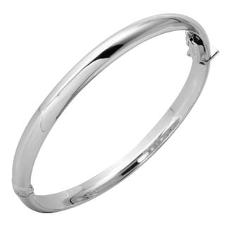 14k White Gold 2.5-inch 6.1-millimeter Polished Dome Bangle Bracelet