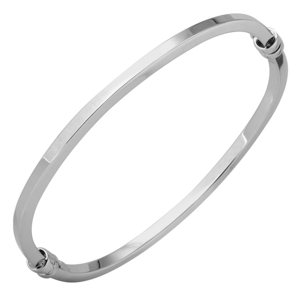 Italian Square Tube Bangle Bracelet 14k White Gold 7-inch