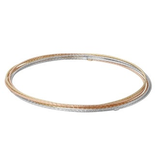 14k Tri Color Gold D-cut 7-day Bangle Bracelet