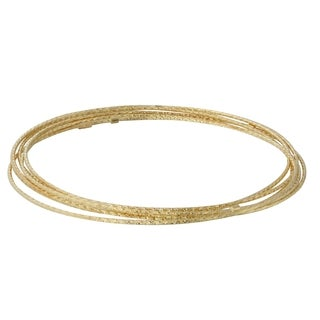 14k Yellow Gold Diamond-cut 7-day Bangle Bracelet