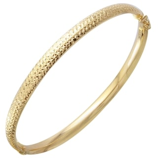 14k Yellow Gold D-cut Bangle Bracelet