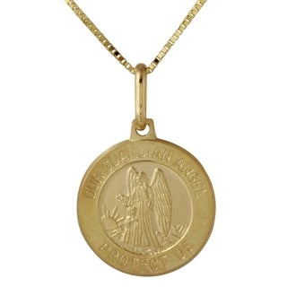 14k Yellow Gold Round Guardian Angel Medallion Pendant
