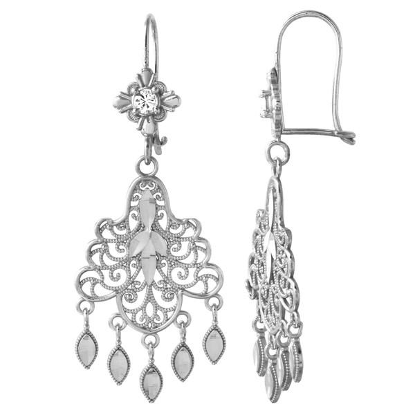 14k White Gold Chandelier Ladies Earrings