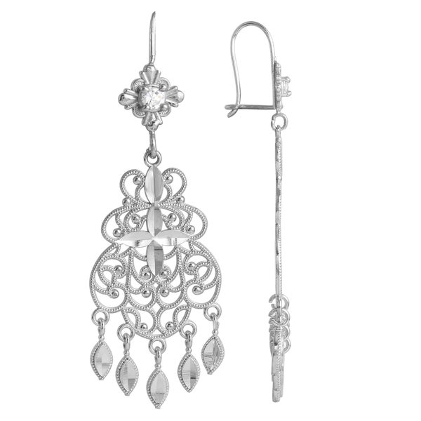 14k White Gold Chandelier Earrings