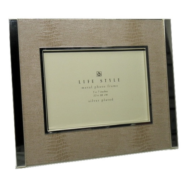 Elegance Light Beige Faux Snakeskin Photo Frame 4x6""