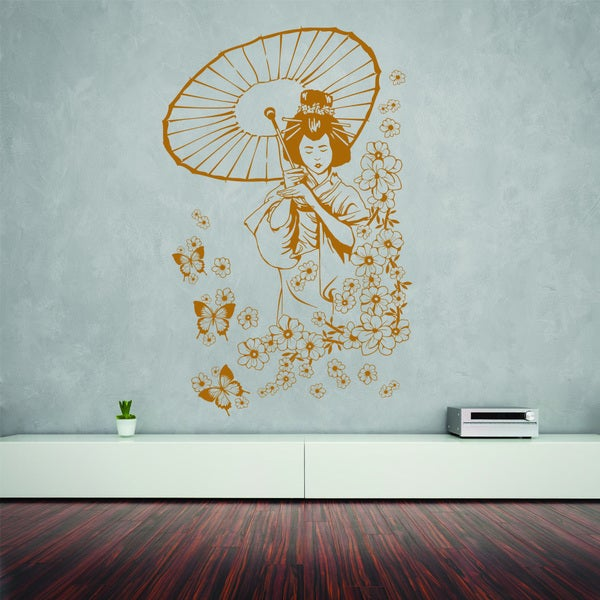 Floral Geisha Vinyl Wall Decal