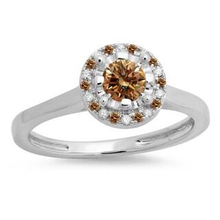 14K Gold 1/2 ct. Round Champagne & White Diamond Ladies Bridal Halo Style Engagement Ring (H-I & Champagne,I1-I2)