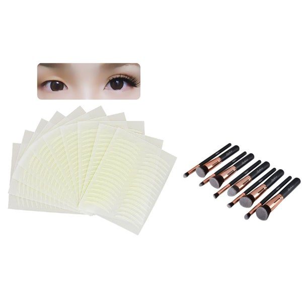 Zodaca 10-piece Rose Gold Cosmetic Eye Shadow Makeup Brush Set with 160-pair 2.2-mm Arch-shaped Double Eyelid Tape Stickers 19118757