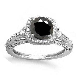 14K White Gold 2 ct. TDW Round Black & White Diamond Halo Bridal Engagement Ring (H-I & Black, Opaque & I2-I3)