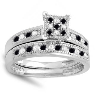 Sterling Silver 1/2ct TDW Black and White Diamond Bridal Ring Set (I-J, I2-I3)