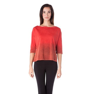 AtoZ Women's Cotton Ombre Twisted Boat Neck Top