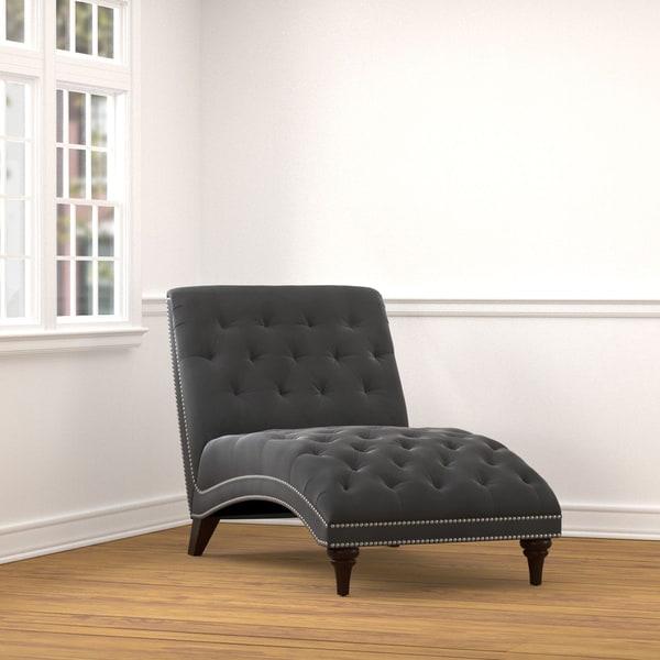Portfolio Palermo Grey Velvet Snuggler Chaise