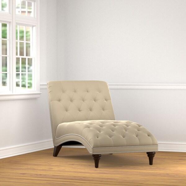 Portfolio Palermo Tan Oatmeal Velvet Chaise Lounge