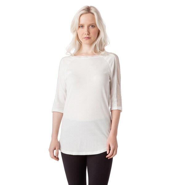 AtoZ Women's Grey/White Cotton Mesh Blouse