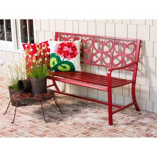 Red Metal Butterfly Bench