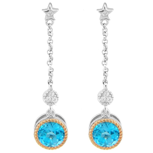 Meredith Leigh SS/14KY Two-tone Gold/Sterling Silver White/Blue Topaz/Zircon Dangle Earrings