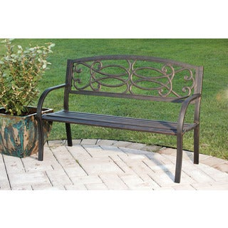 Black Steel Garden Bench