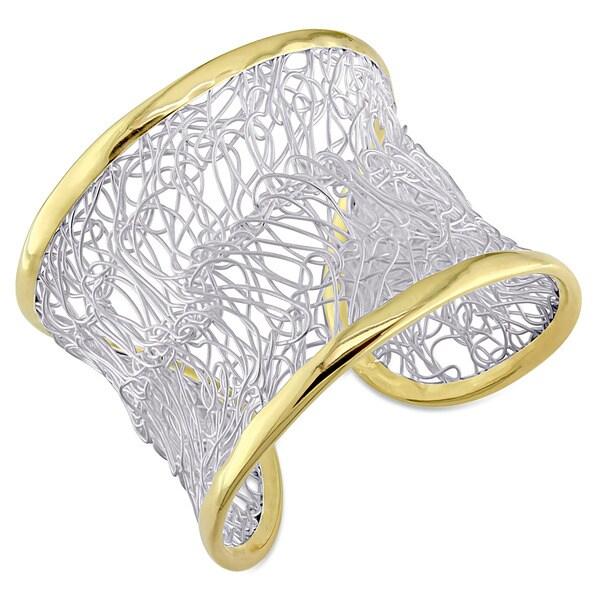 Miadora Two-Tone Silver Cuff Bangle Bracelet