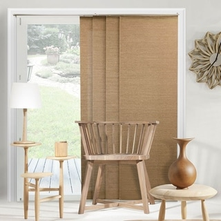 Chicology Adjustable Sliding Panel Cordless Shade Double Rail Track Privacy Fabric 80-inch x 96-inch Birch Truffle