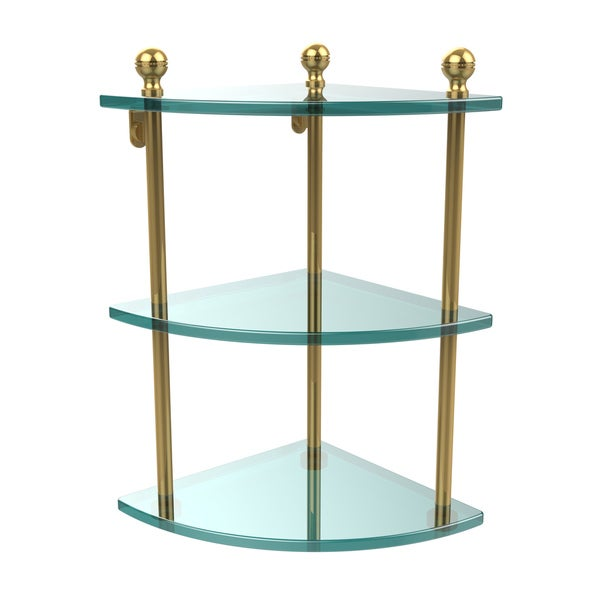 Clear Glass Brass 3-tier Corner Shelf