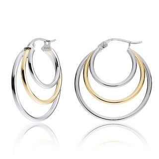 Mondevio Silver Tri Round Hoop Earrings