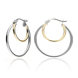 Mondevio Silver High Polished Double Round Hoop Earrings
