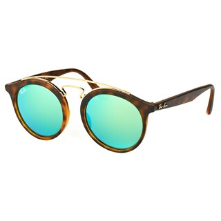 Ray-Ban Unisex RB 4256 60923R Gatsby Matte Havana Plastic Fashion Sunglasses With Green Mirror Lenses