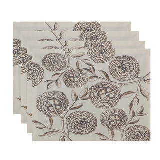 18x14-inch Antique Flowers Floral Print Placemat (Set of 4)