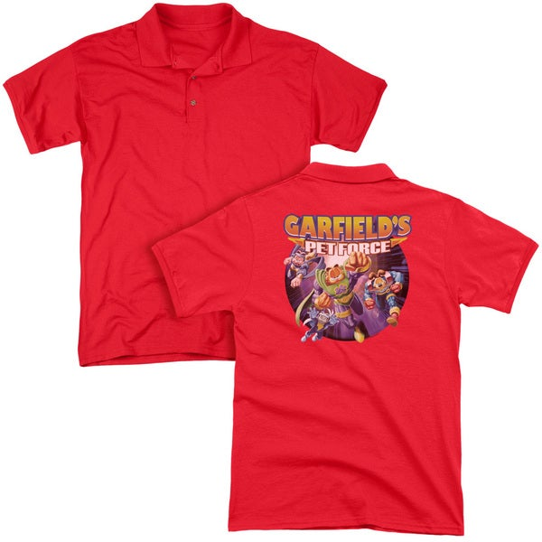 Garfield/Pet Force Four (Back Print) Mens Regular Fit Polo in Red