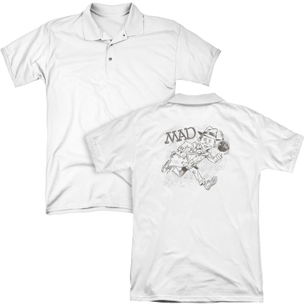 Mad/Sketch (Back Print) Mens Regular Fit Polo in White