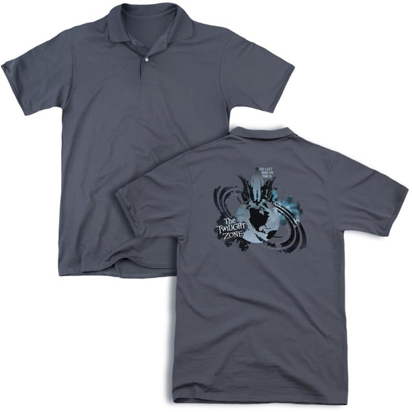 Twilight Zone/Last Man On Earth (Back Print) Mens Regular Fit Polo in Charcoal