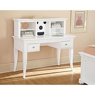 NE Kids Walnut Street White Desk with Hutch and Chair