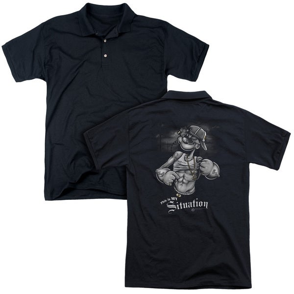 Popeye/Situation (Back Print) Mens Regular Fit Polo in Black