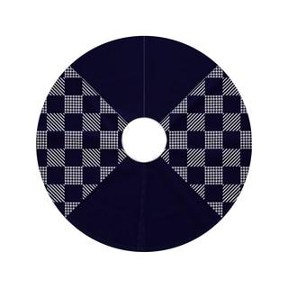 44-inch Round Check It Twice Geometric Print Tree Skirt