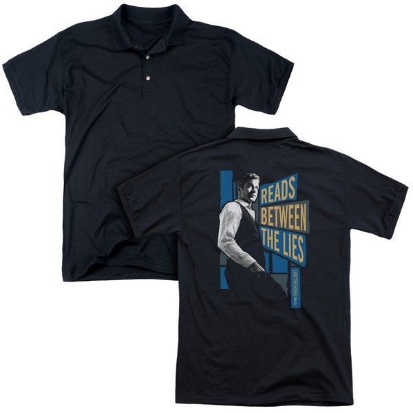 Mentalist/Between The Lies (Back Print) Mens Regular Fit Polo in Black