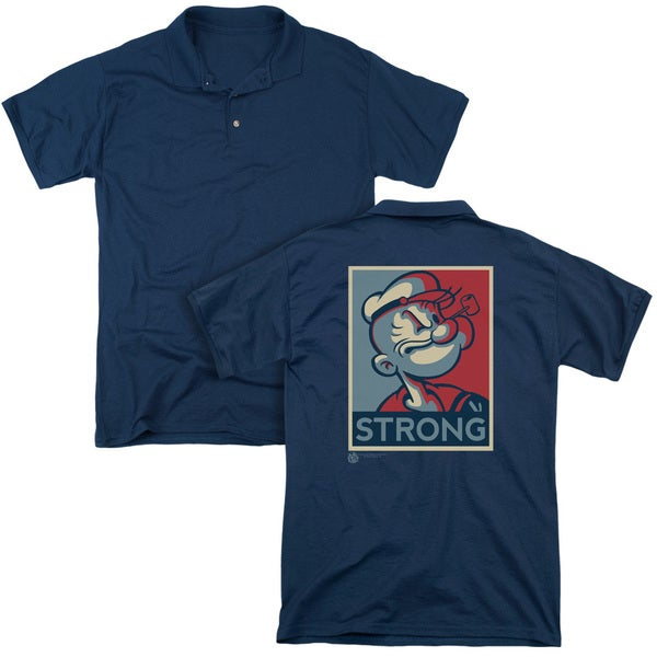Popeye/Strong (Back Print) Mens Regular Fit Polo in Navy