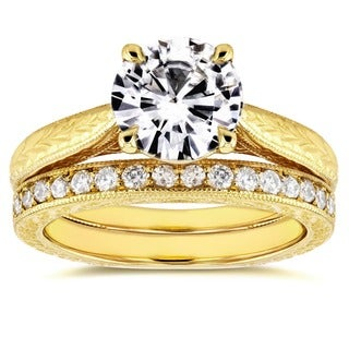 Annello 14k Yellow Gold 1 1/2ct Round Moissanite and 1/3ct TDW Diamond Antique Cathedral Bridal Set (G-H, I1-I2)