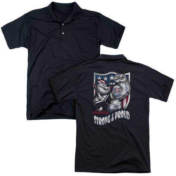 Popeye/Strong & Proud (Back Print) Mens Regular Fit Polo in Black