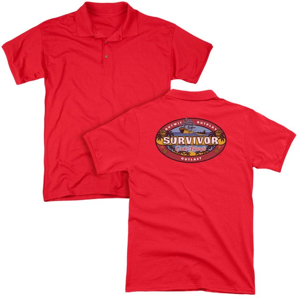 Survivor/Cook Islands (Back Print) Mens Regular Fit Polo in Red