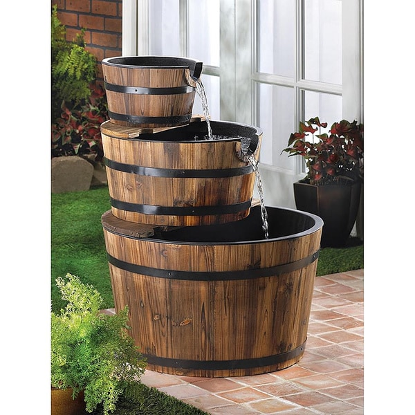 Wooden Barrels Garden Fountain